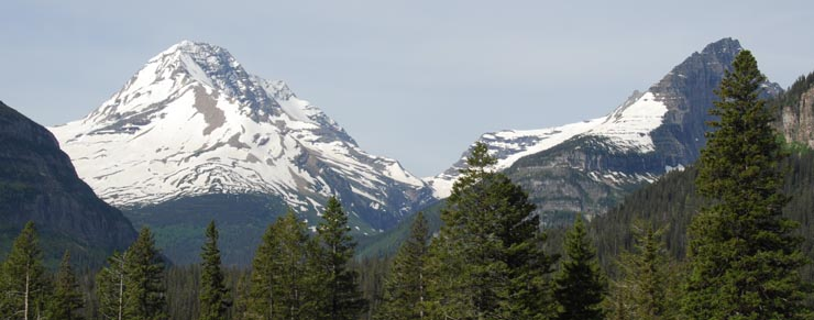 Snow-covered peaks in Glacier National Park
